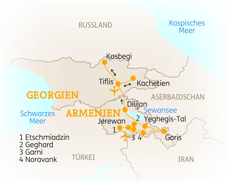 Armenien Karte.Armenien Georgien Wandern Kultur Forum Anders Reisen