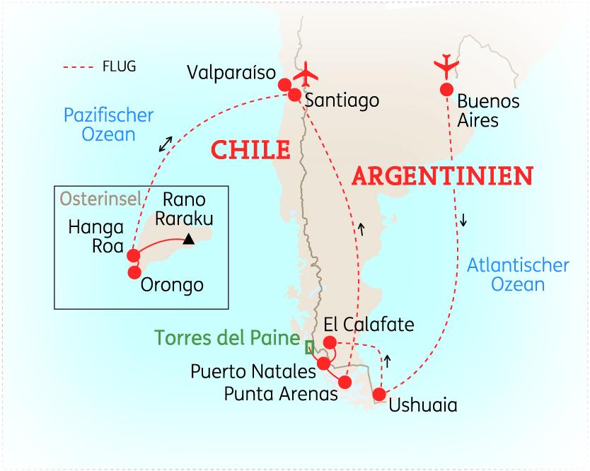 Chile Patagonien Karte.Argentinien Chile Hohepunkte In Patagonien Mit Osterinsel