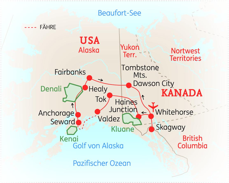 Polarkreis Alaska Karte.Alaska Yukon Höhepunkte Forum Anders Reisen Reiseland